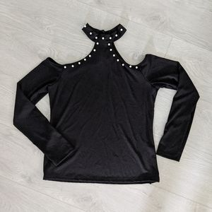 Shein Black Pearl Embellished Cut Out Top